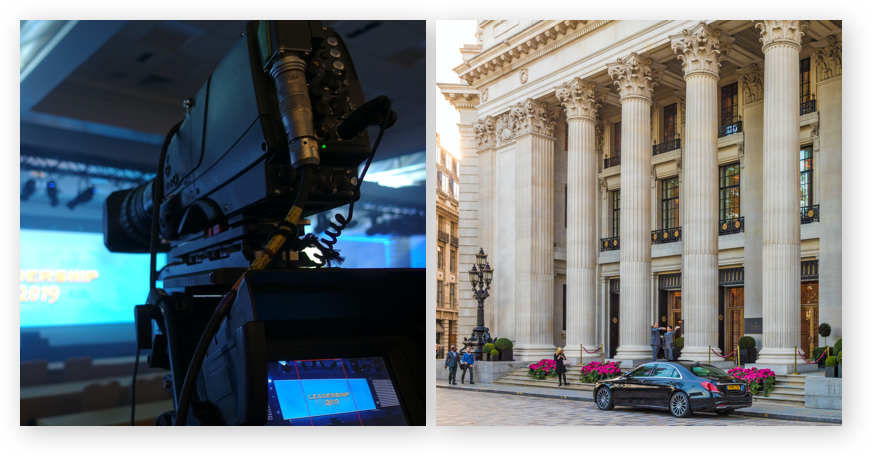 Filming a conference and image of venue